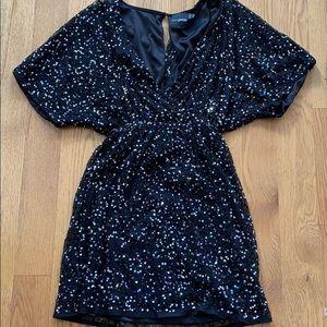 Black Sequin Kimono Dress